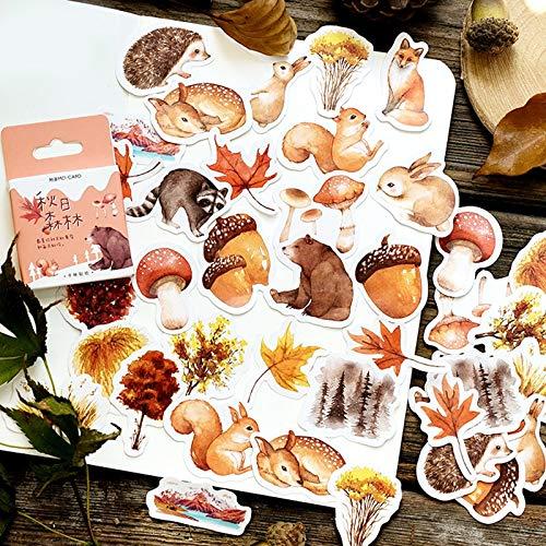 46pcs Autumn Forest Stickers Set 44mm Mini Cute Animal Squirrel Bear Rabbit Deer Plant Leaf Sticker Decoration Gift Seal A6418
