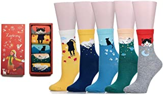 Women's Colorful Cute Cat Cotton Socks with Gift Box