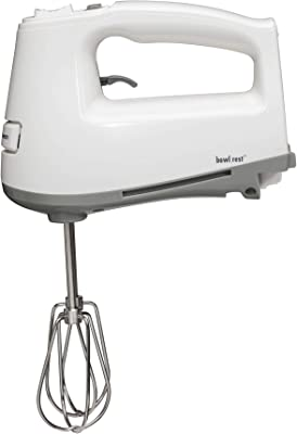 Hamilton Beach Electric Hand Mixer with DC Motor & 3 Speeds, Wire Beaters, Whisk, Swivel Cord and Bowl Rest White (62661)