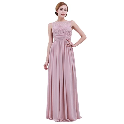 56e4a28a9e1 iEFiEL Women Lace Illusion Cross Pleats Bridesmaid Dress Long Evening Prom  Gown