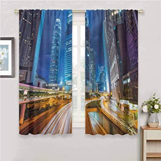 GUUVOR City for Bedroom Blackout Curtains Fast Moving Cars at Hong Kong Highways Modern Life Speed Traffic Nighttime in The City Blackout Curtains for The Living Room W63 x L72 Inch Multicolor