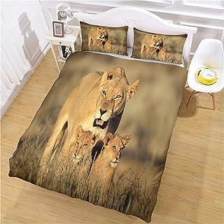 JKKIWK Housse de Couette 220x240 cm Lion de Savane Africaine 3D Imprimé Garçon Filles Parure de Lit avec Fermeture Éclair ...