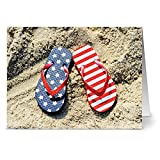 Note Card Cafe Patriotic Greeting Cards Set with Envelopes |24 Pack | Blank Inside, Glossy Finish | Patriotic Flip Flops Design| For July Fourth, Christmas, Holidays, Birthdays, Thank Yous, Ceremonies