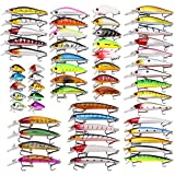 Aneew 56 Pack Topwater Bass Fishing Lures Tackle Kit Crankbait Swimbaits Minnow Pencil Vib Trout Pike Treble Hook Sea Freshwater Saltwater Baits