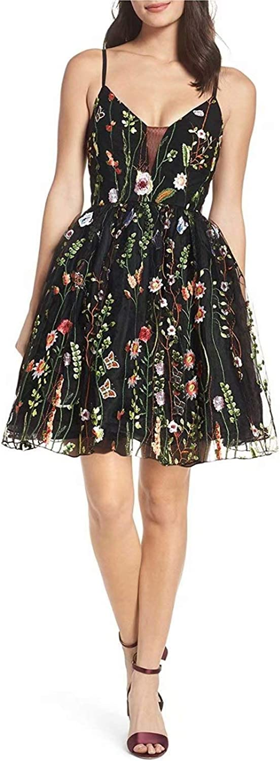 Cute VNeck Floral Embroidered Tulle Homecoming Dresses Short Evening Party Dress