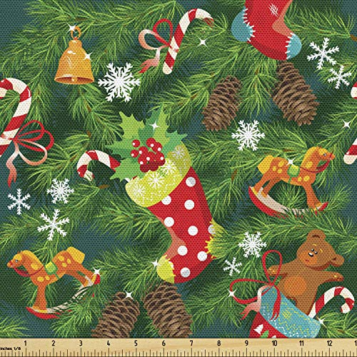 Ambesonne Christmas Fabric by The Yard, Xmas Accessories Stockings Candies Horse Teddy Bear Toys on Pine, Decorative Fabric for Upholstery and Home Accents, 2 Yards, Brown Green