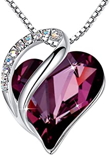 """Leafael""""Infinity Love Heart Pendant Necklace Made with Swarovski Crystals Birthstone Jewelry Gifts for Women, Silver-Tone,..."""
