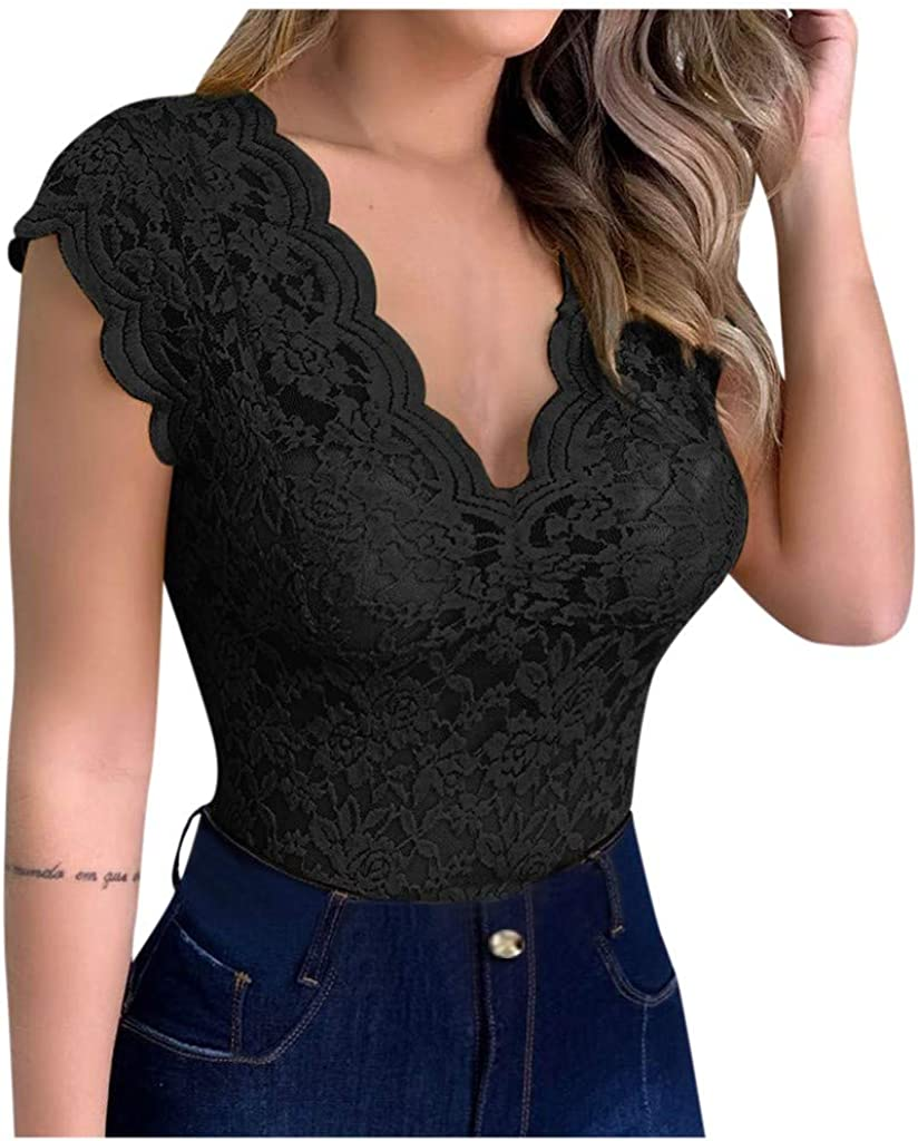 YMADREIG Women's Sexy Lace V-Neck Tops Solid Breathable Sleeveless Tunic Slim T Shirt Casual Business Bodysuit Blouse