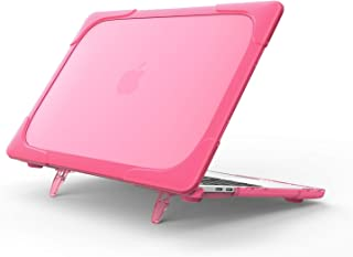 ProCase MacBook Air 13 Inch Case 2018 Release A1932, Heavy Duty Slim Hard Shell Dual Layer Protective Cover with Fold Kickstand for Apple MacBook Air 13 Retina with Touch ID -Rosered