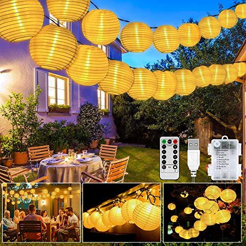 Catena Luminosa Lanterne, con 40LED 8 mode/ricarica USB, Lanterna IP65 impermeabile con telecomando 12 tasti, per Interni ed Esterni, Natale, Prato e Festa