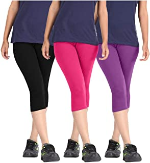 Rooliums Women's Cotton Capri Leggings (HRCAPRI3BPPURP, Black/Pink/Purple, Free Size) - Pack of 3