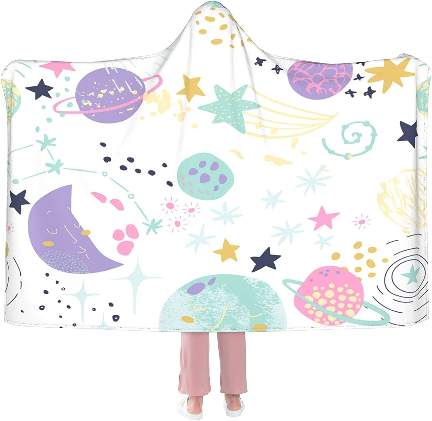 Cute Planets Wearable Blanket So store Flannel Hooded Excellent