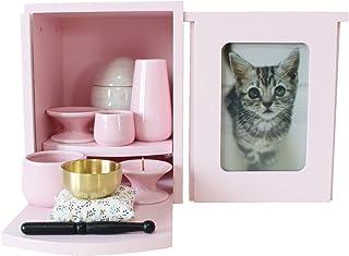 ペット仏壇 メモリアルBOX ピンク 仏具5点セット ピンク おりんセット メモリアルボックス 2~4寸骨壷収納 (ピンク)