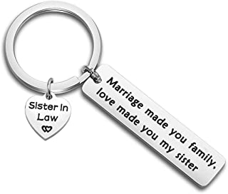 bobauna Sister in Law Gift Marriage Made Us Family Love Made You My Sister Keychain