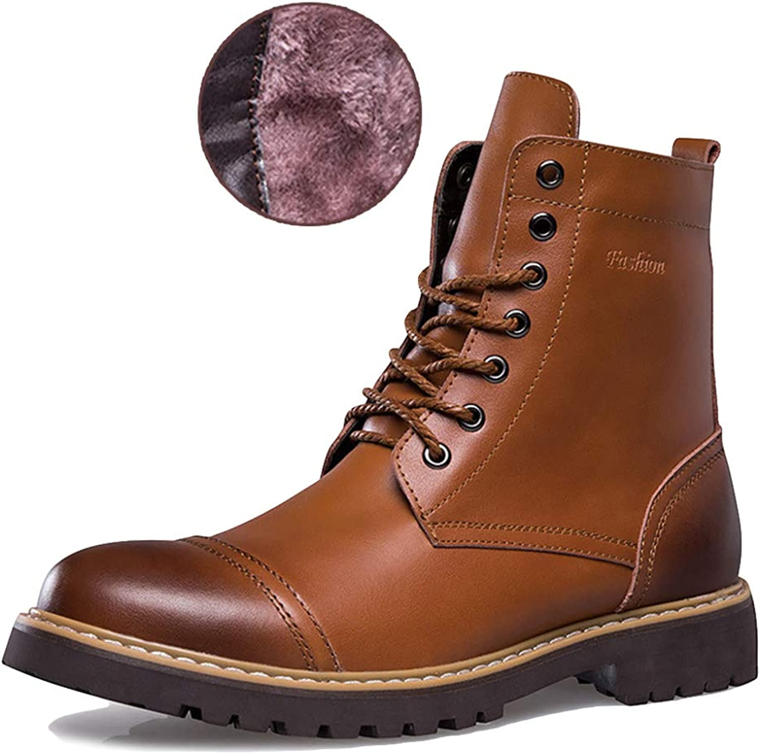 Men Genuine Leather Martin Boots High Tops Outdoor Hiking shoes Lace Ups Casual shoes Desert Boots For Treking Locomotive Cowboy Boots