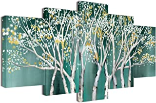 Welmeco XLarge 5 Pieces Canvas Wall Art Abstract Teal Trees with Splash Flowers Picture Prints Painting Modern Home Wall Decoration Contemporary Art for Living Room Office Decor
