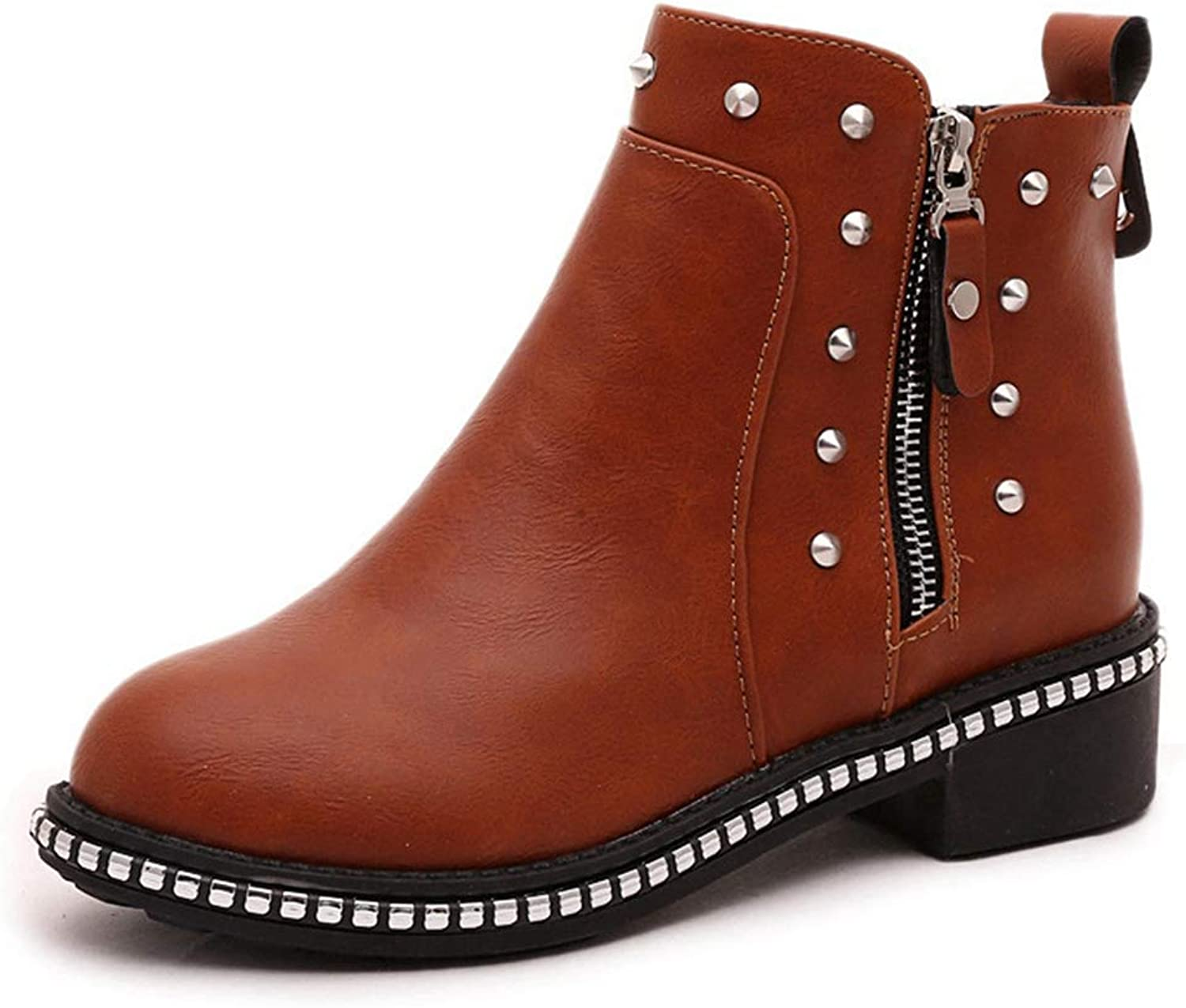 CYBLING Womens Ankle Boots Round Toe Faux Leather Studded Low Heel Side Zipper Booties