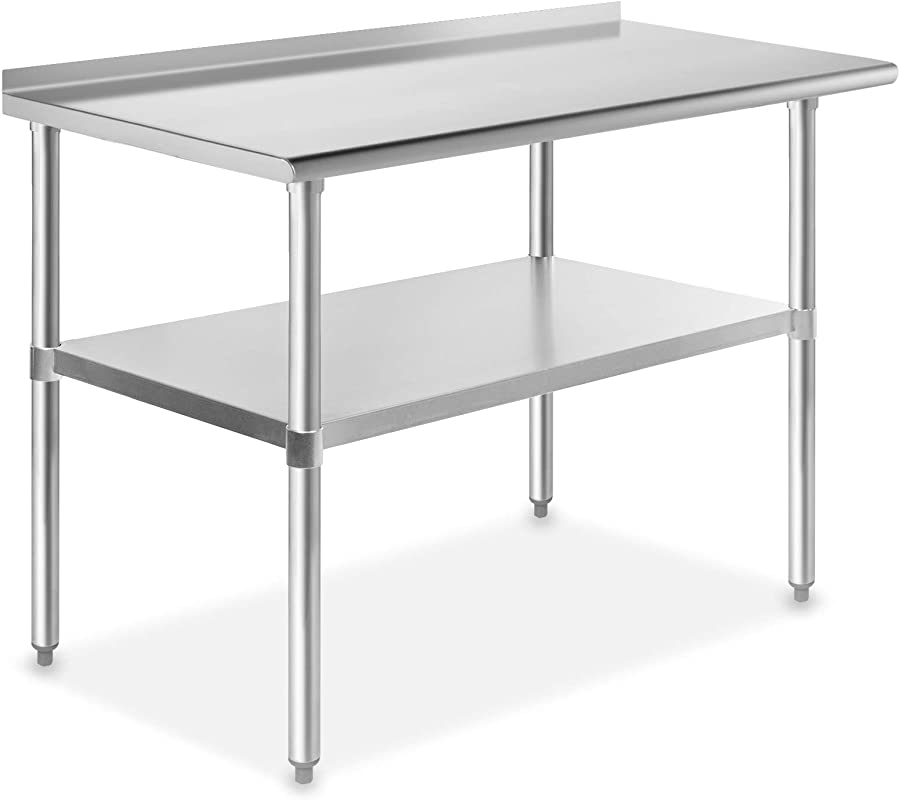 GRIDMANN NSF Stainless Steel Commercial Kitchen Prep Work Table With Backsplash 48 In X 24 In