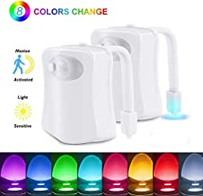 Toilet Night Light [2 Pack], 8 Color Change LED Motion Activated Toilet Seat Light, Motion Sensor LED Washroom Night Light, Perfect Bathroom Detection, Fit Any Toilet Bowl Lamp with 2 Modes for Kids