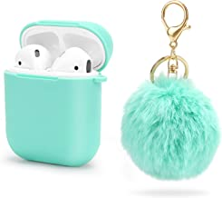 JIELIELE Compatible with Airpod Case Silicone Cute Airpods Case Cover with Pompom Portable Protective Case for Apple Airpods (Cyan