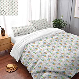 HRoomDecor Ice Cream (1 Duvet Cover + 2 Pillow Sham) Summer Dairy Dessert Queen Size(90x90 Inch) Printed Comforter Cover with Zipper Closure