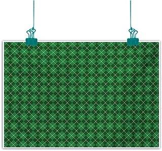 Mdxizc Simulation Oil Painting Irish St. Patricks Day Celebration Inspired Vintage Pattern Argyle Tartan Dots Decorative Painted Sofa Background Wall W47 xL31 Green Dark Green White