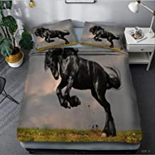 Bedding 3 Piece Set, Three Running Horses Cotton Home Textiles King Size Bed Linens Duvet Cover and Pillowcase Bedclothes ...