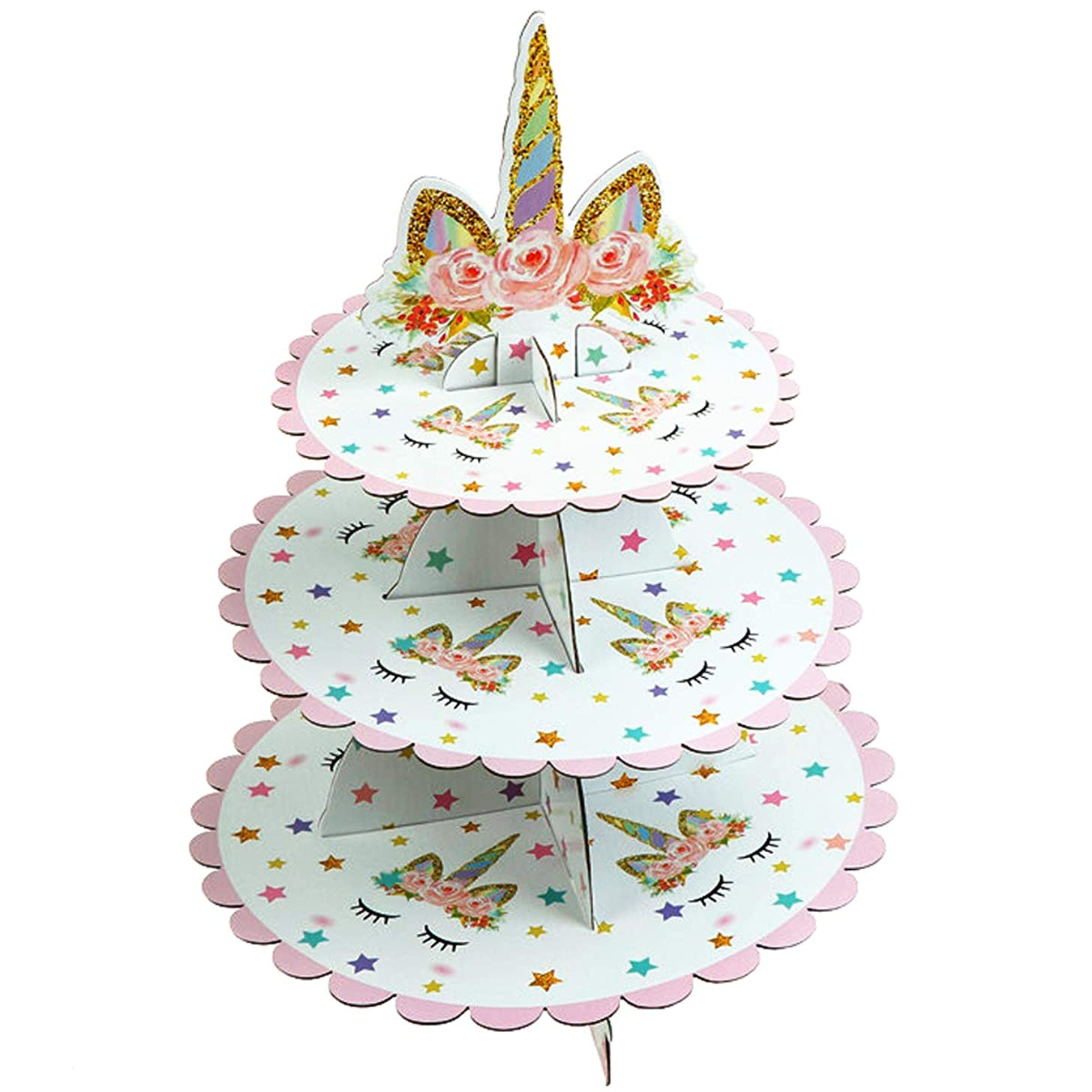 JETTINGBUY 3 Tier Unicorn Cardboard Cupcake Stand Dessert Cupcake Holder for Baby Shower, Gender Reveal Party, Kids Birthday Party or Unicorn Themed Party
