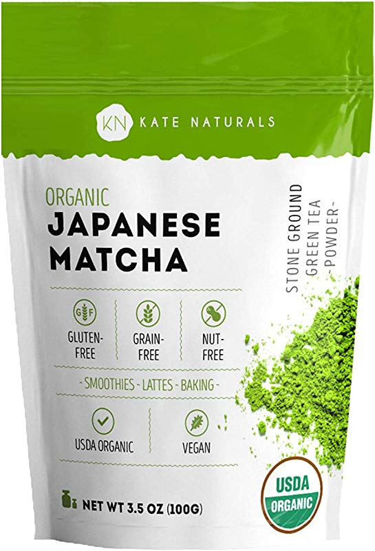 Organic Japanese Matcha Green Tea Powder By Kate Naturals Certified Organic From Japan Culinary Grade For Smoothies Lattes Baking Weight Loss Boost Energy Focus 100g Value Size