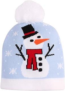 WE-WHLL, WE-WHLL Niño pequeño Niños Bebé Invierno Gorro de Punto Gorro Lindo Colorido Dibujos Animados Santa Muñeco de Nieve Calcetín Estampado Festival de Navidad Fiesta Pompón Cráneo cálido Cap-A