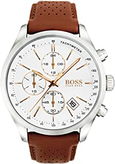 Hugo Boss Men's 46mm Brown Leather Band Steel Case Quartz White Dial Analog Watch 1513475