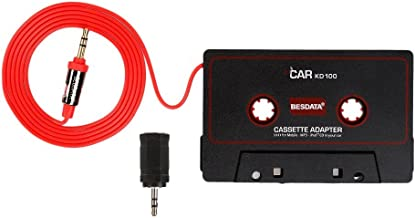 BESDATA Universal Car Cassette Player Adapter with 3.5mm Male Jack and 2.5mm Plug Adapter..