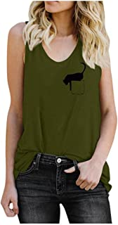 Fashion Tank Tops Women Casual Sleeveless Blouse Shirts Cat Print Casual Pullover Top Vest