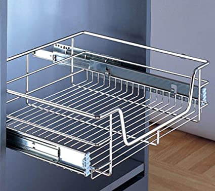 1 x Pull out Wire Basket Chrome Kitchen Bedroom Drawer Storage 600mm