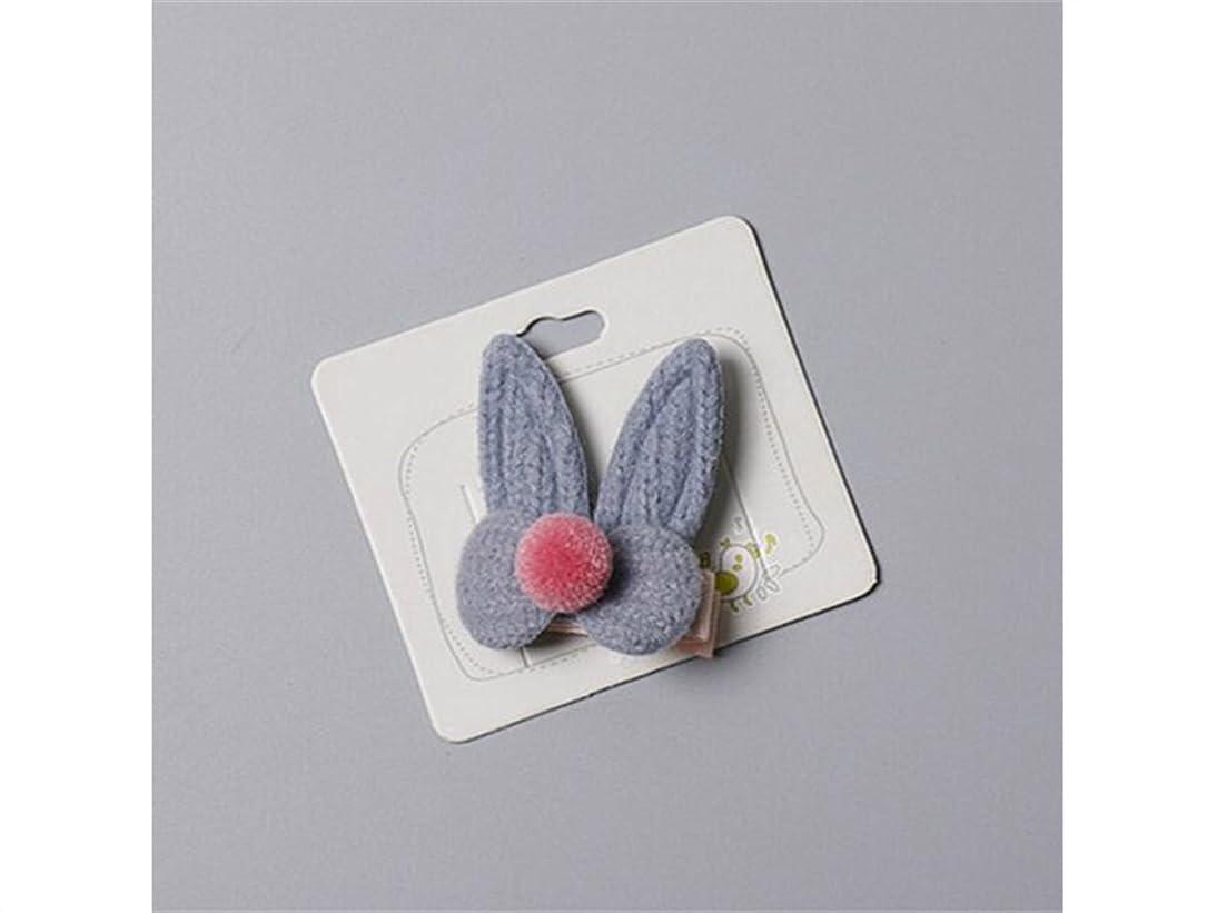 アクション恥ずかしいなすOsize 美しいスタイル ファッションウサギの耳毛のボールヘアクリップサイドクリップヘアピンヘアアクセサリー(ブルー)