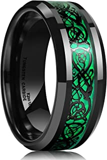 King Will DRAGON 8mm Green Carbon Fiber Black Celtic Tungsten Carbide Ring Comfort Fit Wedding Band