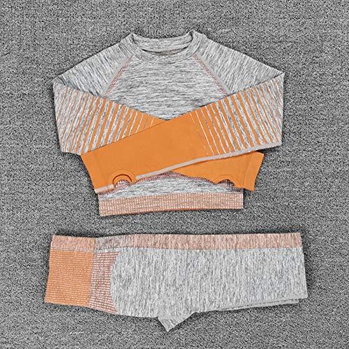 Nologo LUCHAO - Conjunto de yoga sin costuras, para mujer, 2 piezas, ajuste seco, ajustado, manga larga, parte superior de cultivo + leggings de entrenamiento, gimnasio, conjuntos de fitness, Conjunto Largo Naranja, Small