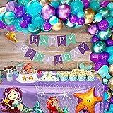 Tacobear Sirena Cumpleaños Party Decoración Sirena Bandera Sirena Globos Red de Pesca Deco Mantel para Niños Niñas Sirena Cumpleaños Party Fiesta Accessori