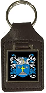 Nimmo Family Crest Surname Coat Of Arms Brown Leather Keyring Engraved
