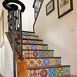 Vinyl Wall Home Decor Stickers for Staircase Mexican Talavera Patterns Stairs (Pack with 24) (7.9 x 7.9 inches)