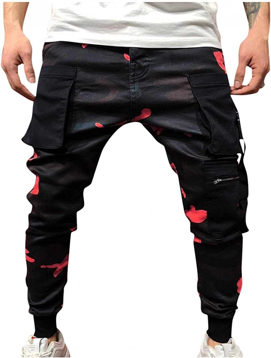 Huangse Camo Cargo Pants for Men Multi-Pockets Athletic Pants Casual Gym Sweatpants Slim Fit Running Joggers Track Pants