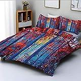 Juego de funda nórdica, pintura al óleo Ver Autumn Forest Modern Impressionism Artwork Print Juego de cama decorativo de 3 piezas con 2 fundas de almohada, azul marino y amarillo de pimentón, el mejor