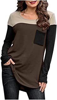 Long Sleeve t-Shirt Women Loose Casual Tee Shirt Tops Autumn Winter Patchwork Blouse with Pocket Outdoor Sports Tunic