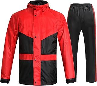 ZEMIN ポンチョ レインウェア スリッカー レインコート ポンチョ ウインドブレーカー 防水 カバー ユニセックス オートバイ ライディング 利便性 ポリエステル、 3色、 5サイズあり (色 : RED, サイズ さいず : L l)