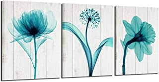 Nachic Wall- Wall Art for Bedroom Abstract Flower with Cream Wood Background Pictures Canvas Prints Modern Teal Floral Decor for Bedroom Bathroom Gallery Canvas Wrapped Easy Hanging