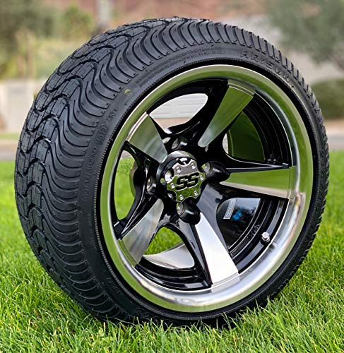 12' BULLITT Machined/Black Aluminum Wheels and 215/35-12 Low Profile DOT Tires Combo - Set of 4