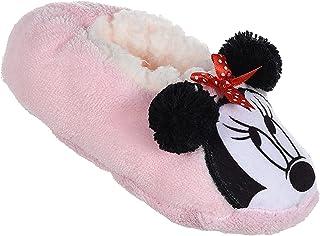 Chaussons d'intérieur souples fausse fourrure filles Minnie Disney Rose et Rouge du 25 au 32