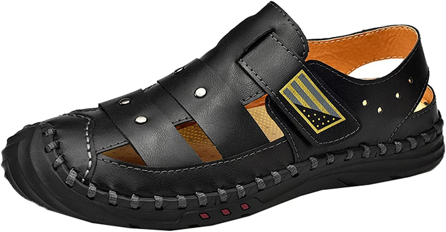 Men Hiking Sandal Waterproof Real Leather Max 82% OFF B Studded Round Indianapolis Mall Double