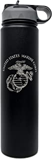 Military Gift Shop 24 oz Stainless Steel Marine Corps Water Bottle - Vacuum Insulated