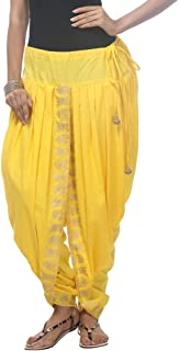 NIKA Women's Cotton Dhoti Salwar(KNA-12969 Yellow Free Size)